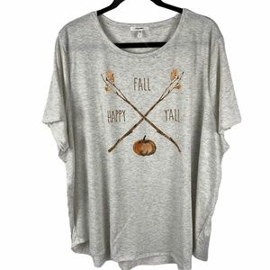 """Maurices """"Happy Fall Y'all"""" T-Shirt Top Size 3 3X"""